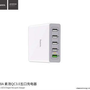BỘ SẠC NHANH 5 CỔNG USB 3.0A HOCO C18A – QC 3.0 – DÀI 1.5M