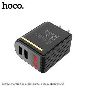 CÓC SẠC 2 CỔNG USB 2.4A HOCO C39 – MÀN HÌNH LED